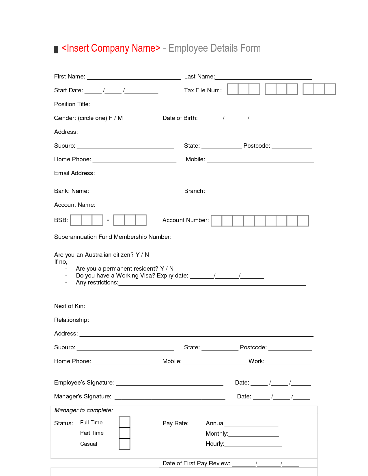Perfect New Hire Employee Details Form Template Sample : Vlashed
