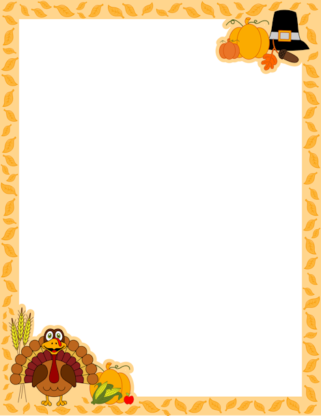 a page border for thanksgiving with a turkey cartoon pilgrim hat and more