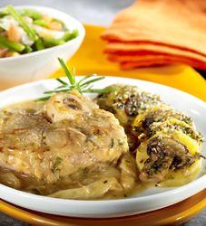 Kalfsschenkel met aardappel-champignongratin