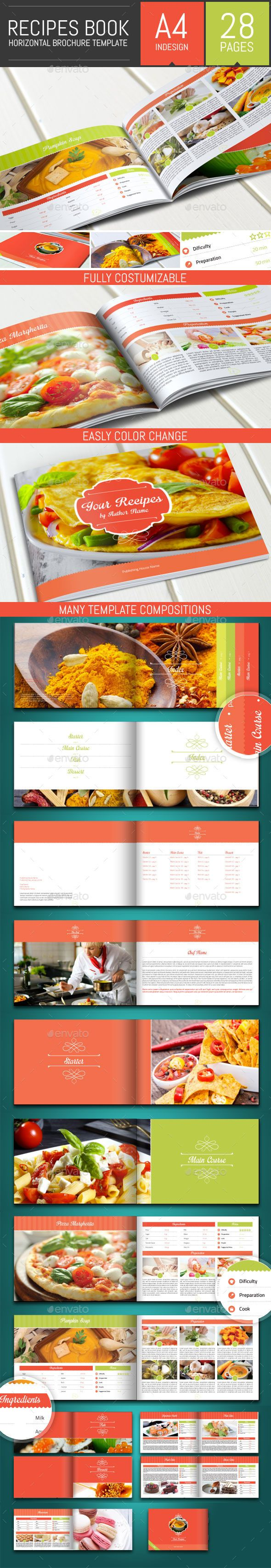 Recipes Book Horizontal Brochure Template Brochure Template - Horizontal brochure template