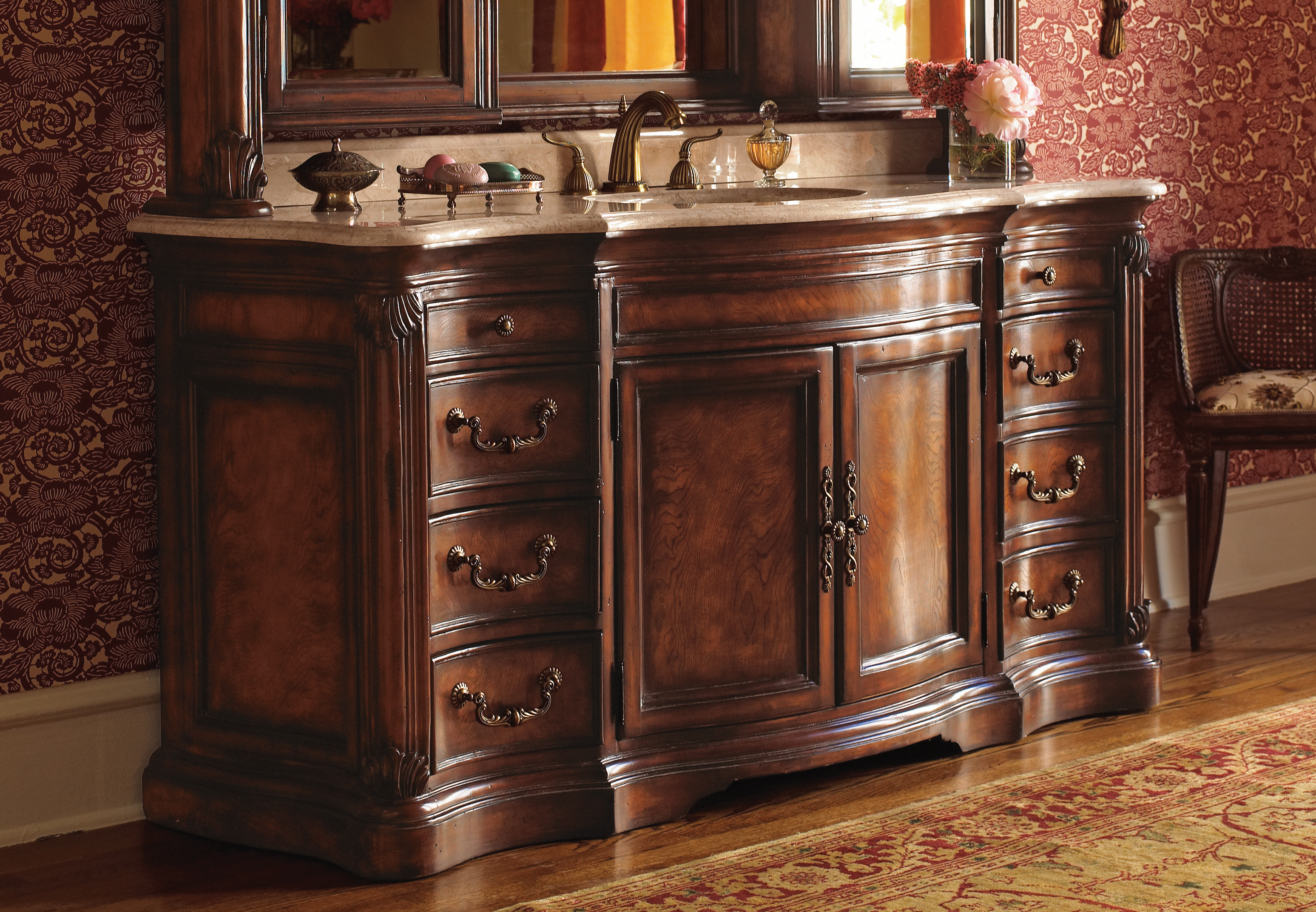 Large Sink Chest Finished In Solid Mahogany And Ash Burl Veneer Perfect For The Strict Traditional Lovers 30daysof Bathroom Decor Vanity Interior Decorating