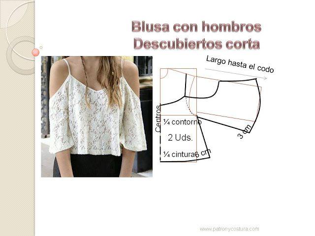 Blusón sin hombros. Tema 124 diy | molderia | Costura, Ropa y Blusa ...