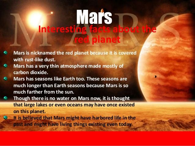 Interesting facts about the red planet Mars Mars is ...