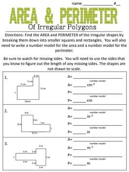 MORE Area and Perimeter of Irregular Polygons (made of squares ...