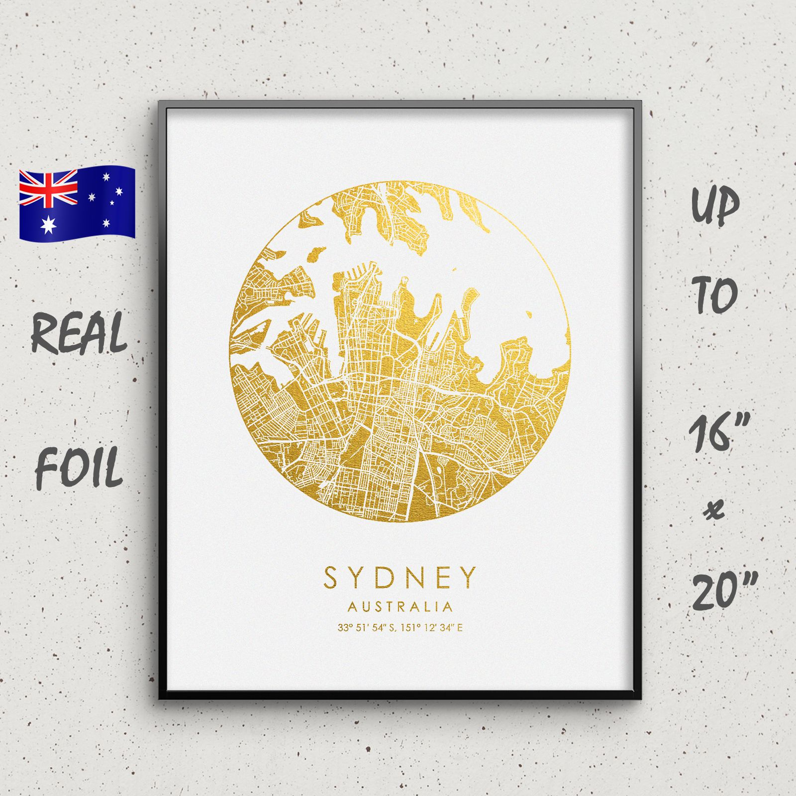 Sydney City Map Print For Wall Art Decor By Goldengraphy Australia On A Gold And Silver Foil Poster For Home Decor And Office D Home Decor Australia Map Wall Art