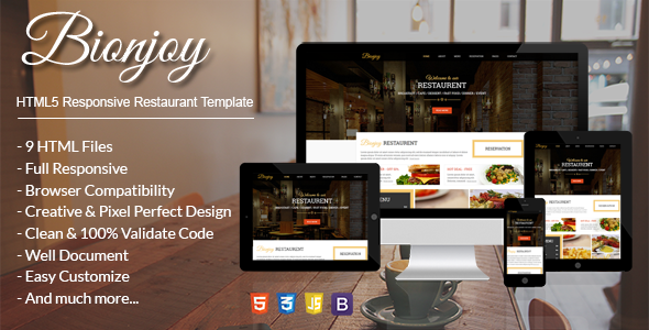 Bionjoy Is A Restaurant Food Html Template Built Using Bootstrap