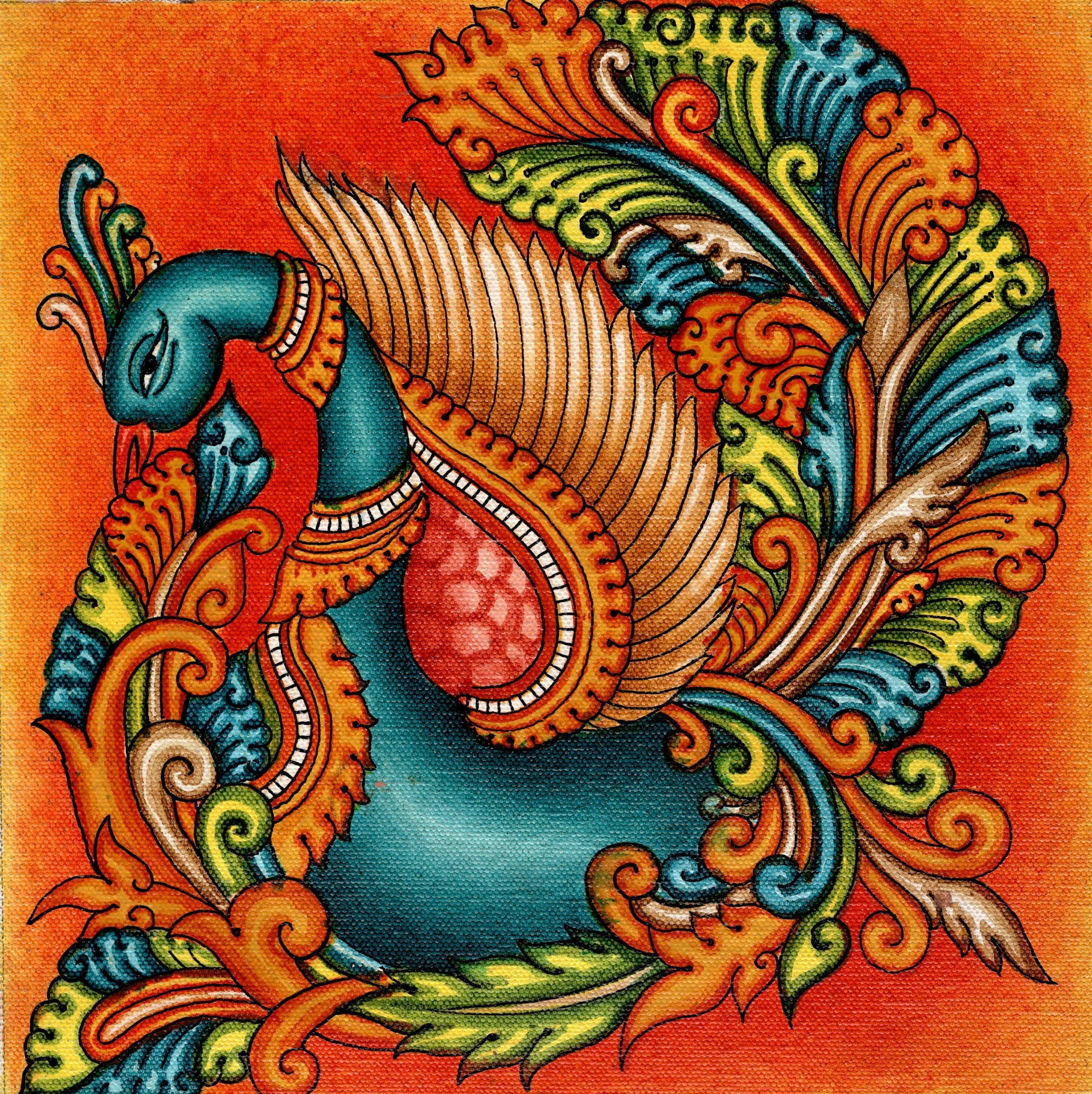 Kerala mural swan painting handmade south india nature for Mural painting designs