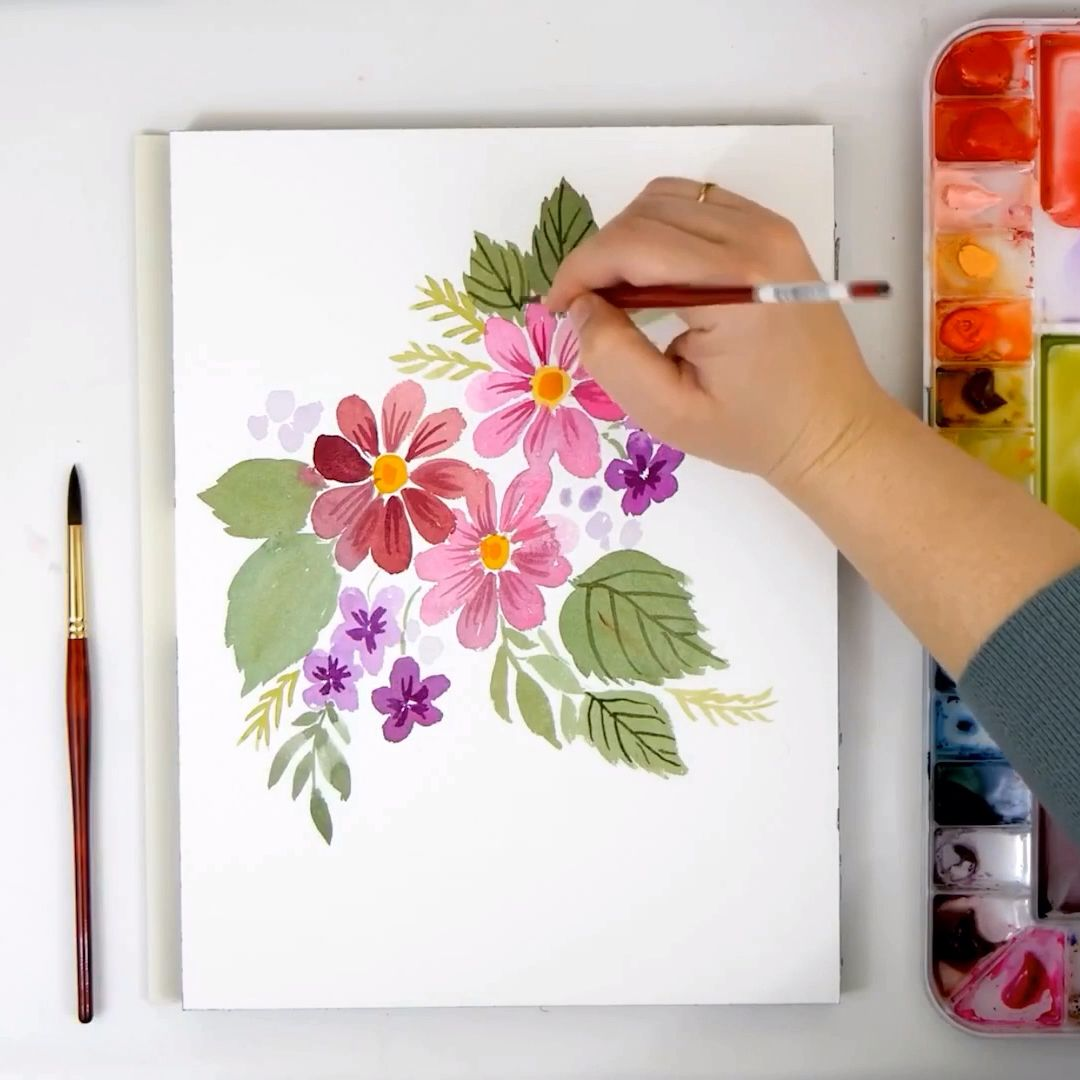 How to Paint A Loose Watercolor #Daisy #Bouquet | #Watercolor #Tutorial - YouTube