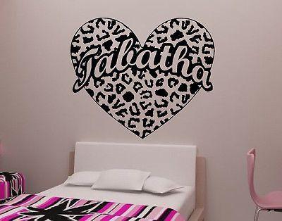 Attrayant Cheetah Spot Heart With Custom Text Vinyl Wall Decal Sticker Cheetah Print