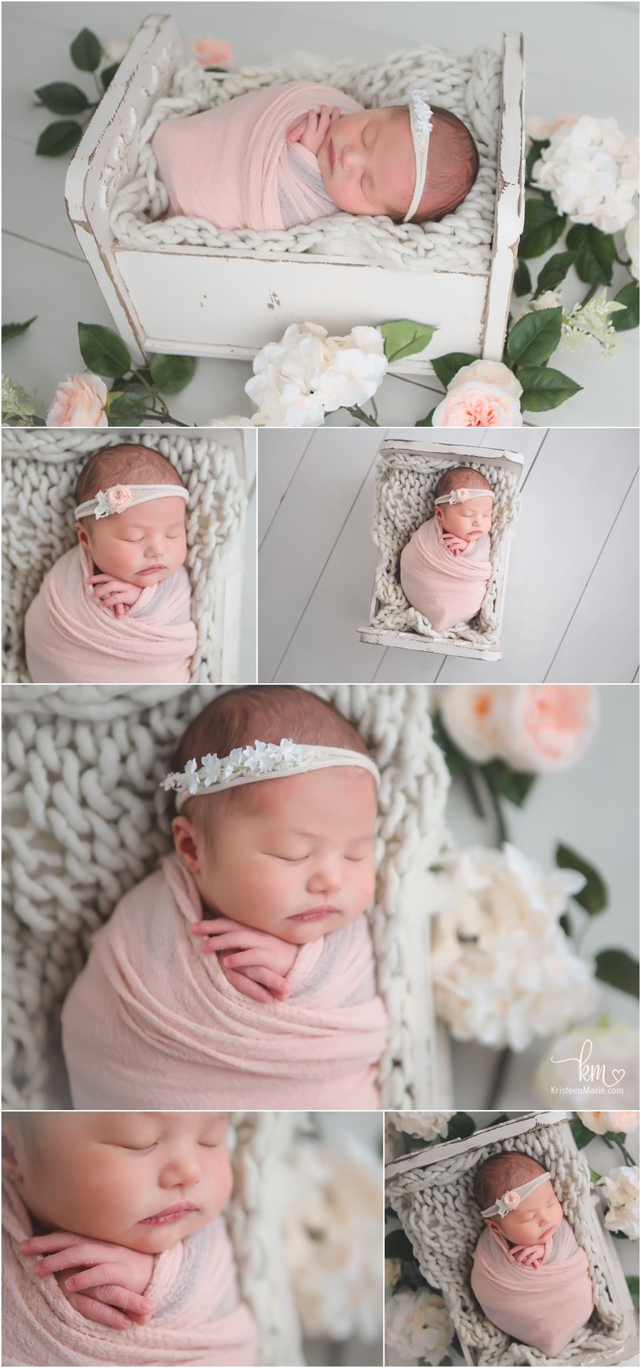 9e9347a1 peach and white newborn photography with floweres - Carmel, Indiana newborn  photographer
