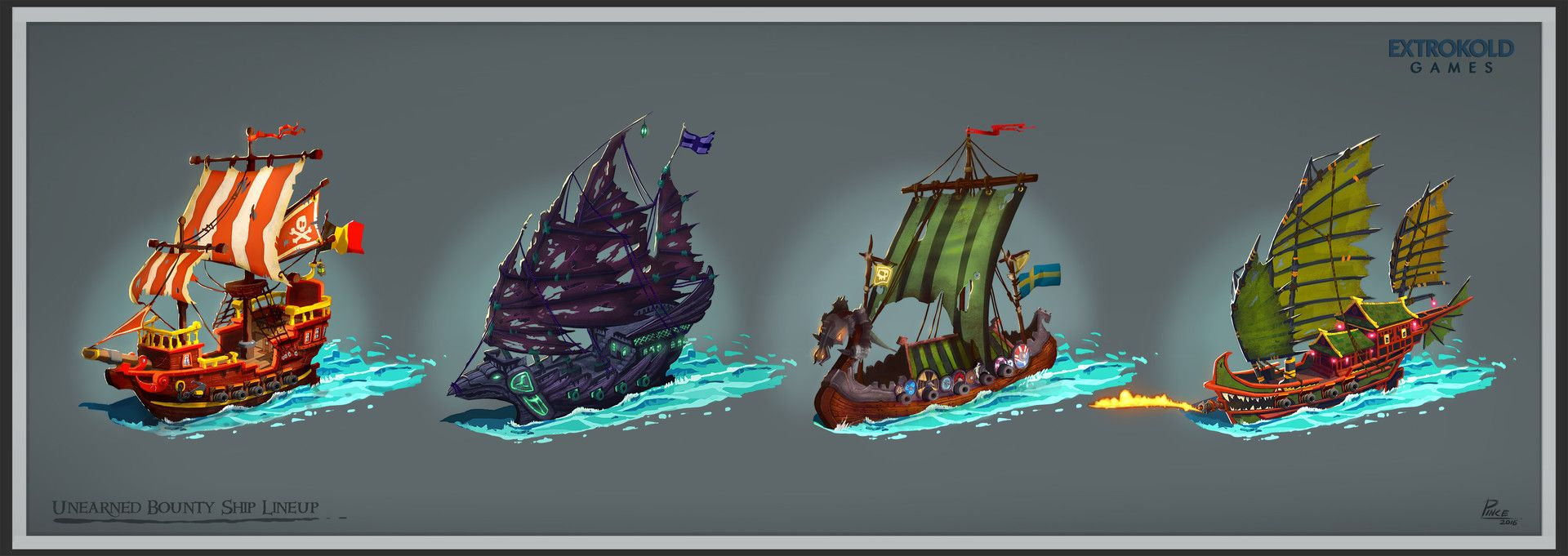 Unearned Bounty Pirate Ship Designs Lineup Richard Pince Pirates Pirate Ship Artwork