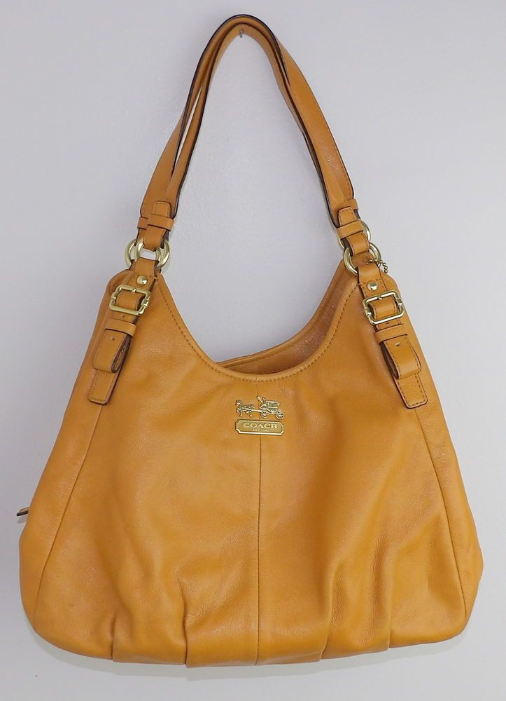 875349843455 Coach Handbag Hobo Purse Slouchy C1275-16503 Maggie Mustard Yellow Purple  Lined  Coach  ShoulderBag