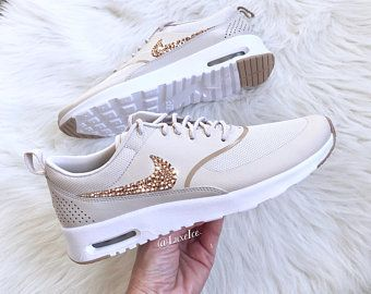 super popular 1bb6d c6c03 Nike Air Max Thea - Desert Sand/Sand/White Blinged with Rose Gold  SWAROVSKI® Xirius Rose-Cut Crystals.