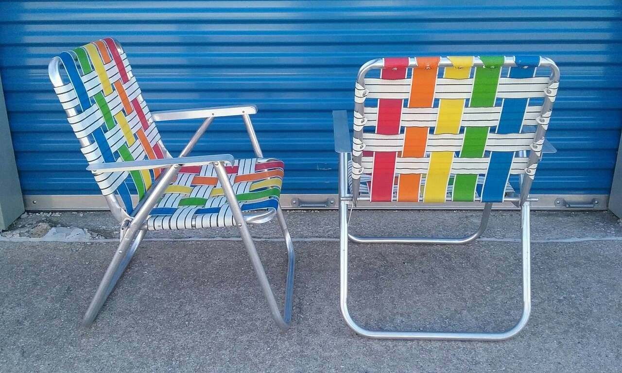 Pair Of Vintage Rainbow Webbed Aluminum Folding Lawn Chairs Lawn