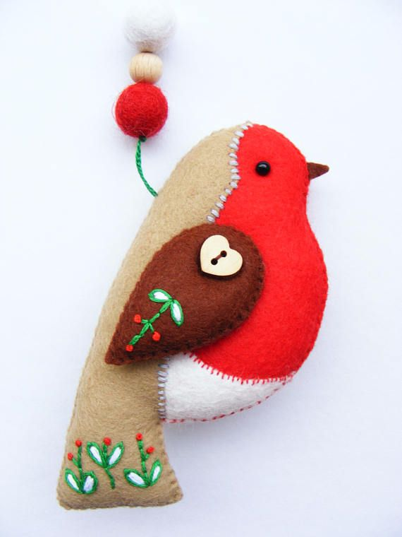 Felt PDF sewing pattern - Felt robin with embroidered ...