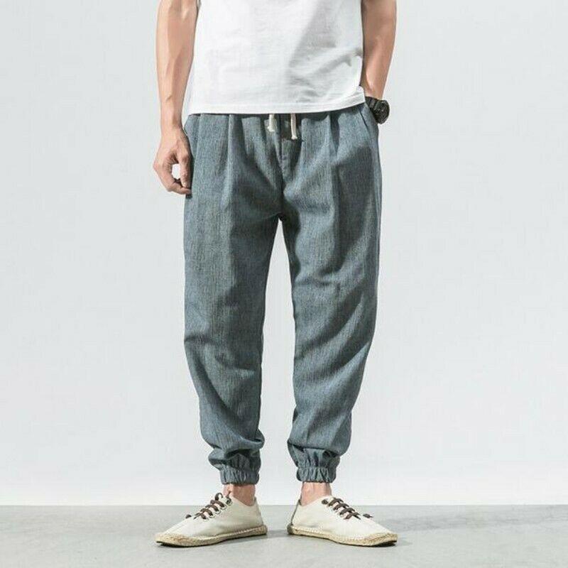 Vintage Men Summer Trousers Cotton Blend Solid Chinese Style Long Harme Pants Sz