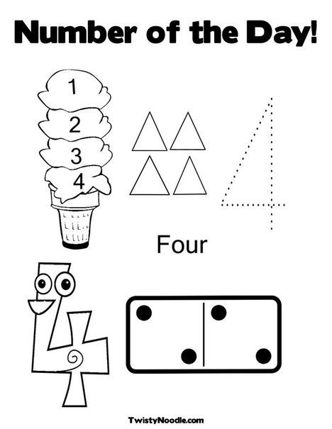 Number Of The Day Coloring Page 4 Year Old Activities 4 Year Olds Preschool Worksheets