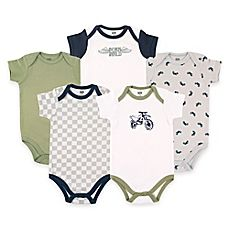 image of BabyVision® Hudson Baby® 5-Pack Dirt Bike Short Sleeve Bodysuits in Green/Grey