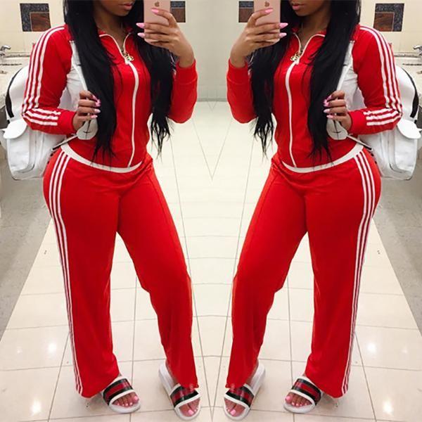 Fashion Zipper Contrast Striped Casual Workout Pantsuit