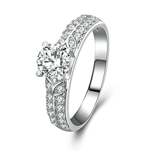 AMDXD Jewelry Silver Plated Wedding Bands for Women Oval