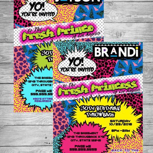 90u0027s Theme Fresh Prince Princess Hip Hop - Digital Birthday - fresh birthday party invitation designs