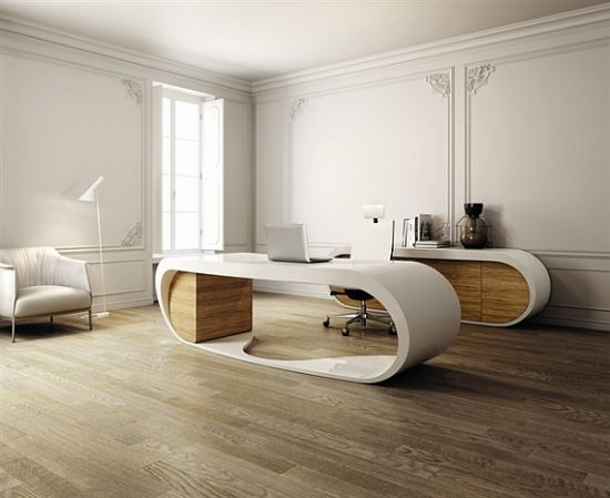 Wohnideen Home Office Weiß Beige Hoch Modern Futuristisch Schreibtisch