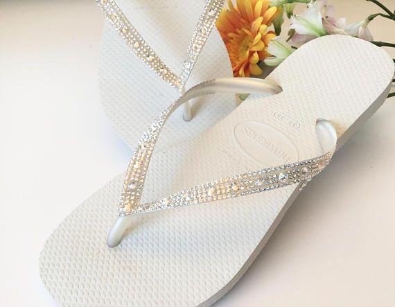 89cc23baed18 Custom White Havaianas Slim Flip Flops w  Ivory Cream Crystal ...