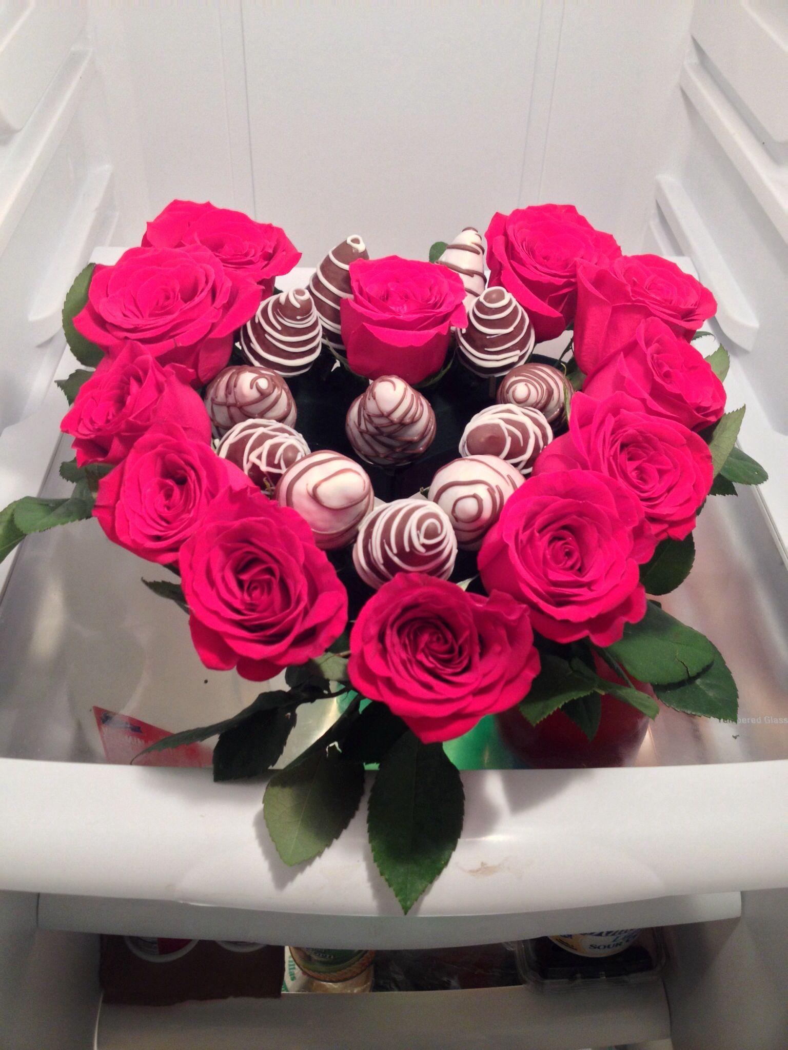 1dozen chocolate covered strawberries 1dozen red roses | Chocolate ...