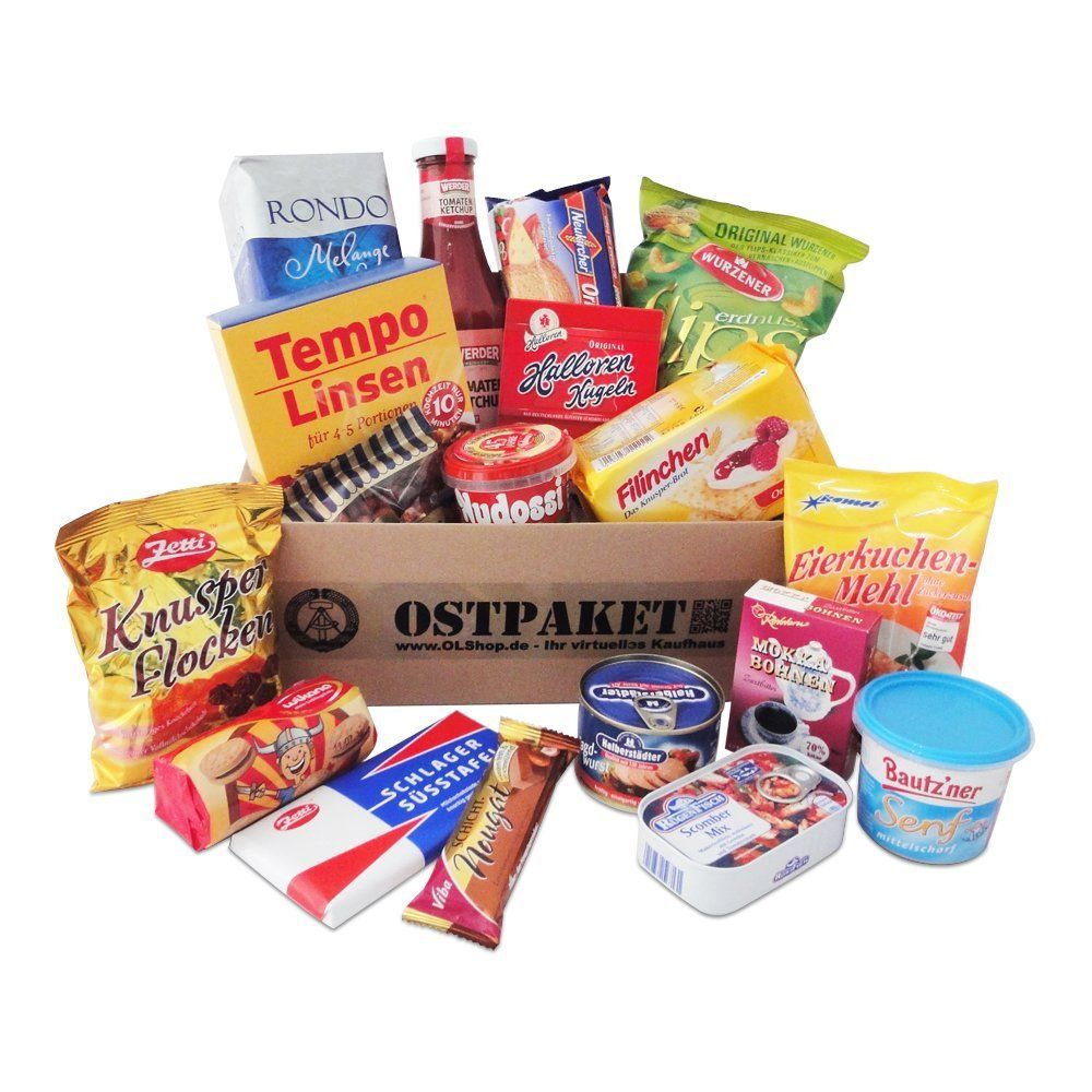Geschenkset Ostprodukte Ostpaket mit 18 typischen Lebensmitteln der ...