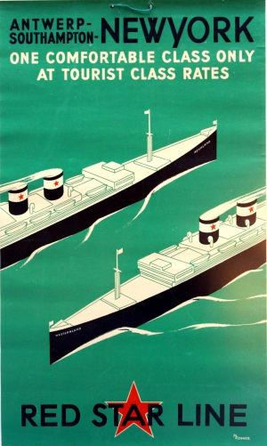 New York Red Star Line Art Deco, 1935 - original vintage poster by M Renner listed on AntikBar.co.uk