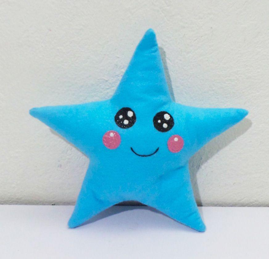 Cojín Estrella azul Kawaii | Manualidades, Cojines, Cojin estrella