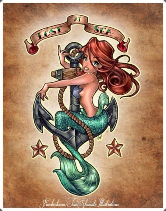 New School Mermaid anchor pin up lost at sea don't sink going down ...