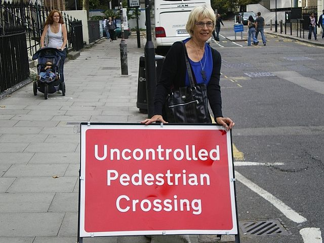 Caution, pedestrians can be dangerous! [Photo from London, England]