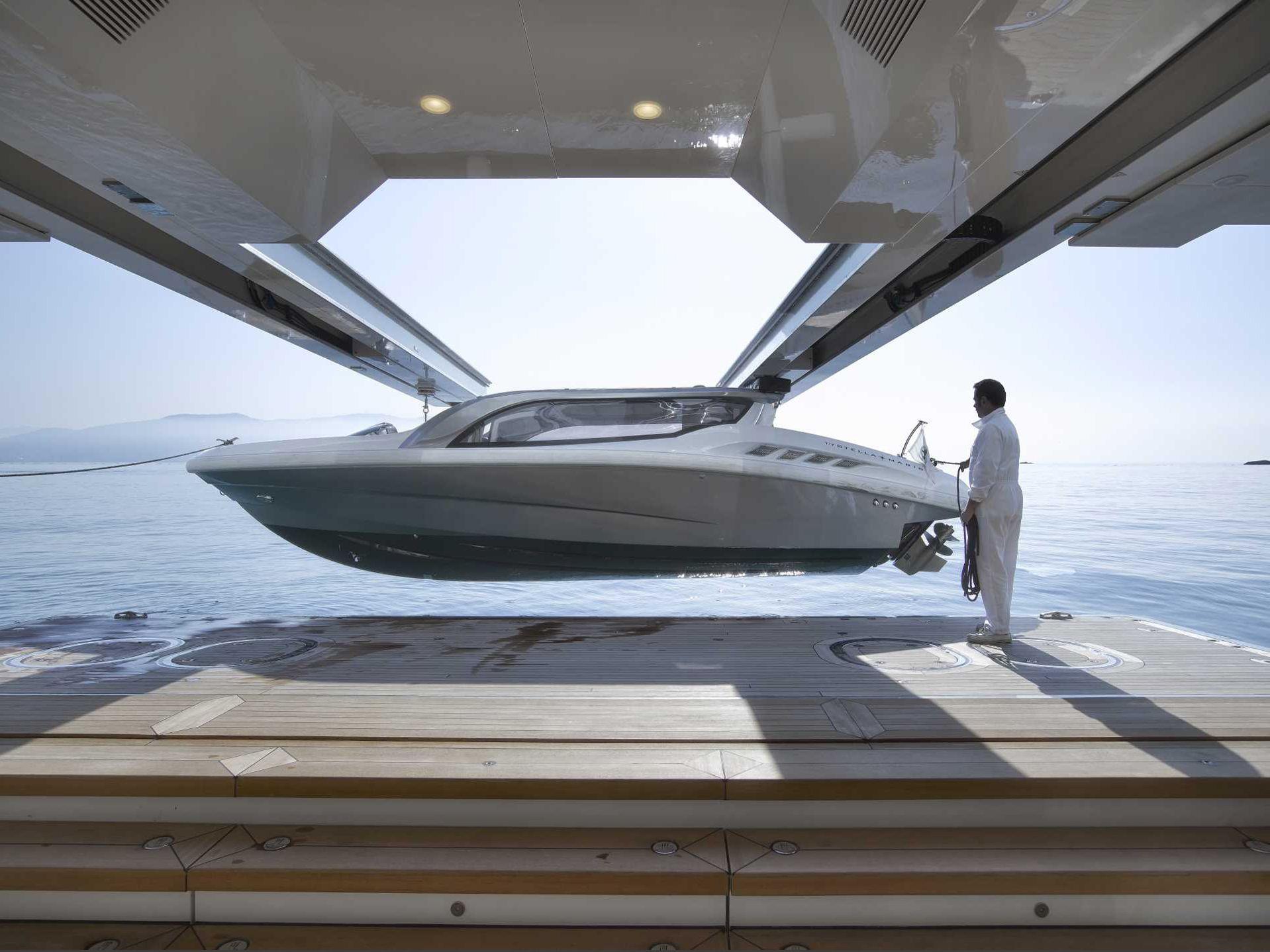 Superyacht Stella Maris Tender Garage Crane Naval Architecture By Laurent Giles Ltd Architecture Stella Naval