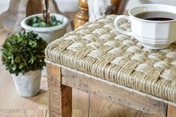 A unique way to dress up a wood footstool is to wrap it in jute twine for a rustic, farmhouse look.     Tutorial found at www.andersonandgrant.com
