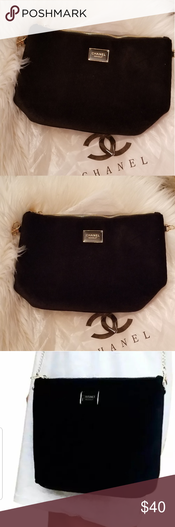 CHANEL Black Velvet Zip Makeup Bag Makeup bag, Chanel