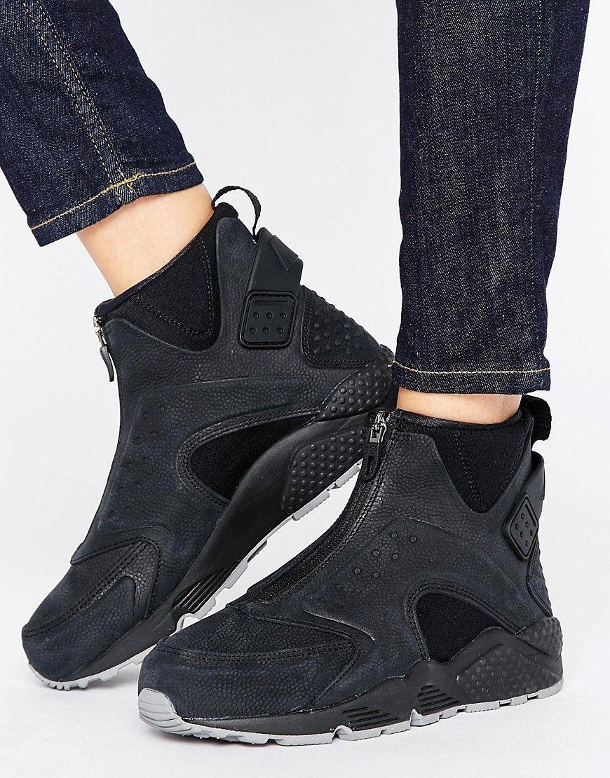quality design b3a59 ebf36 Zapatillas de deporte altas negras Run Premium Air Huarache de Nike.  Zapatillas de deporte de Nike, Exterior de cuero, Cierre con cremallera, ...