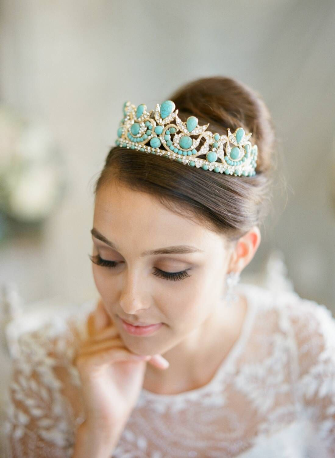 Bridal tiaras and veils - Gold Bridal Crown Turquoise Tiara Aria Blue Bridal Tiara Gold Byzantine Wedding Tiara