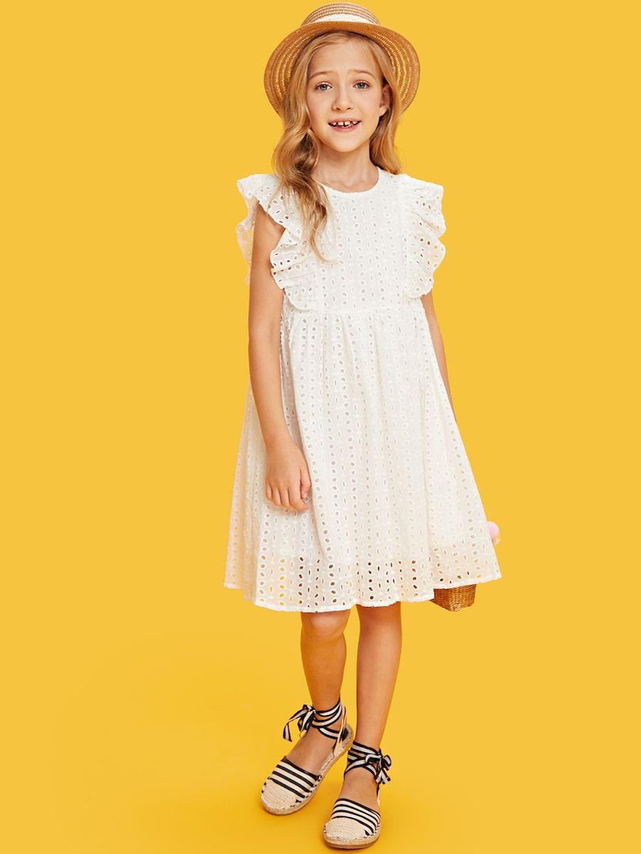 Girls ruffle trim eyelet embroidered dress shein