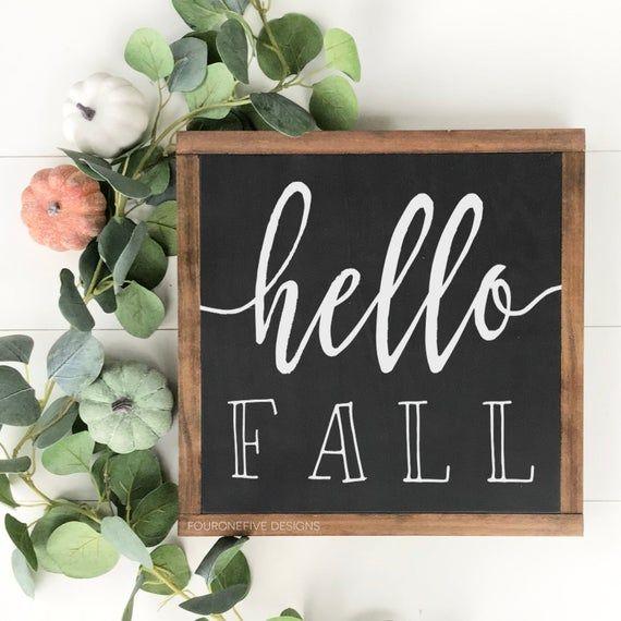 Hello Fall, Framed Wood Sign, Rustic Home Decor, Farmhouse Style, Wall Decor, Fall Sign, Autumn Decor #hellofall