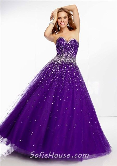 Elegant Ball Gown Sweetheart Purple Beaded Crystal Prom Dress Lace ...