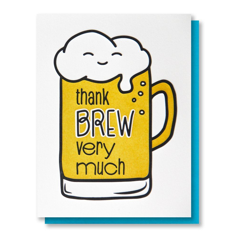 Funny Punny Thank You Letterpress Card Thank Brew Beer Pun Kiss And Punch In 2021 Beer Puns Punny Cards Funny Thank You Cards