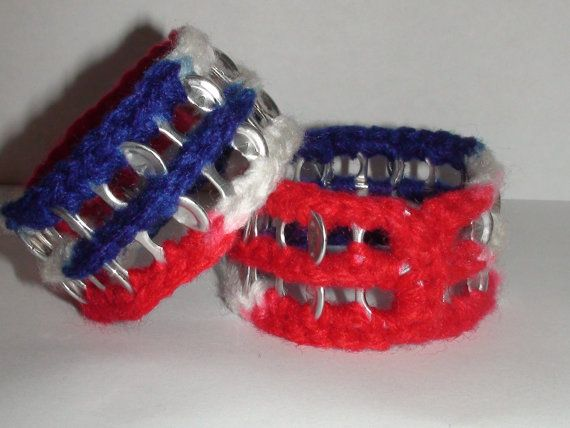 Crocheted Red White & Blue Upcycled Pop Tab by PopTabilicious