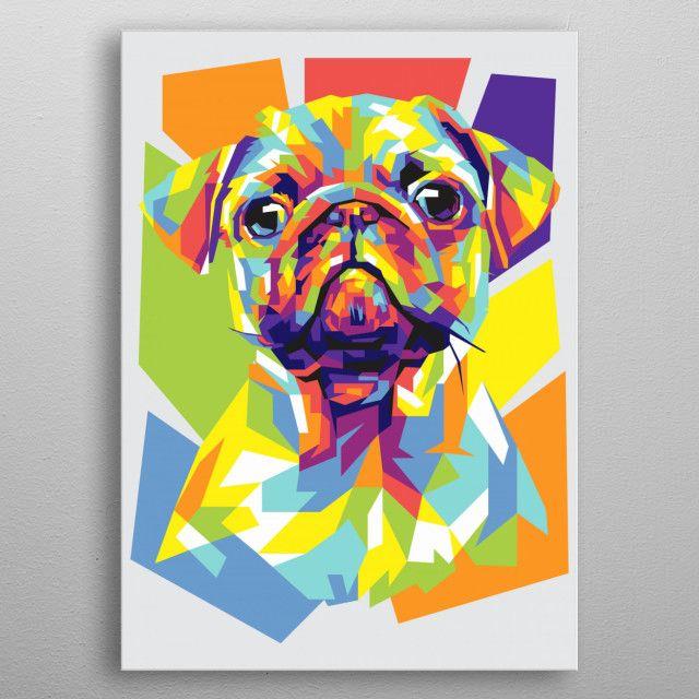 Pug metal poster #metalposter #homedecor #walldecor #dogs #doglovers   Displate thumbnail