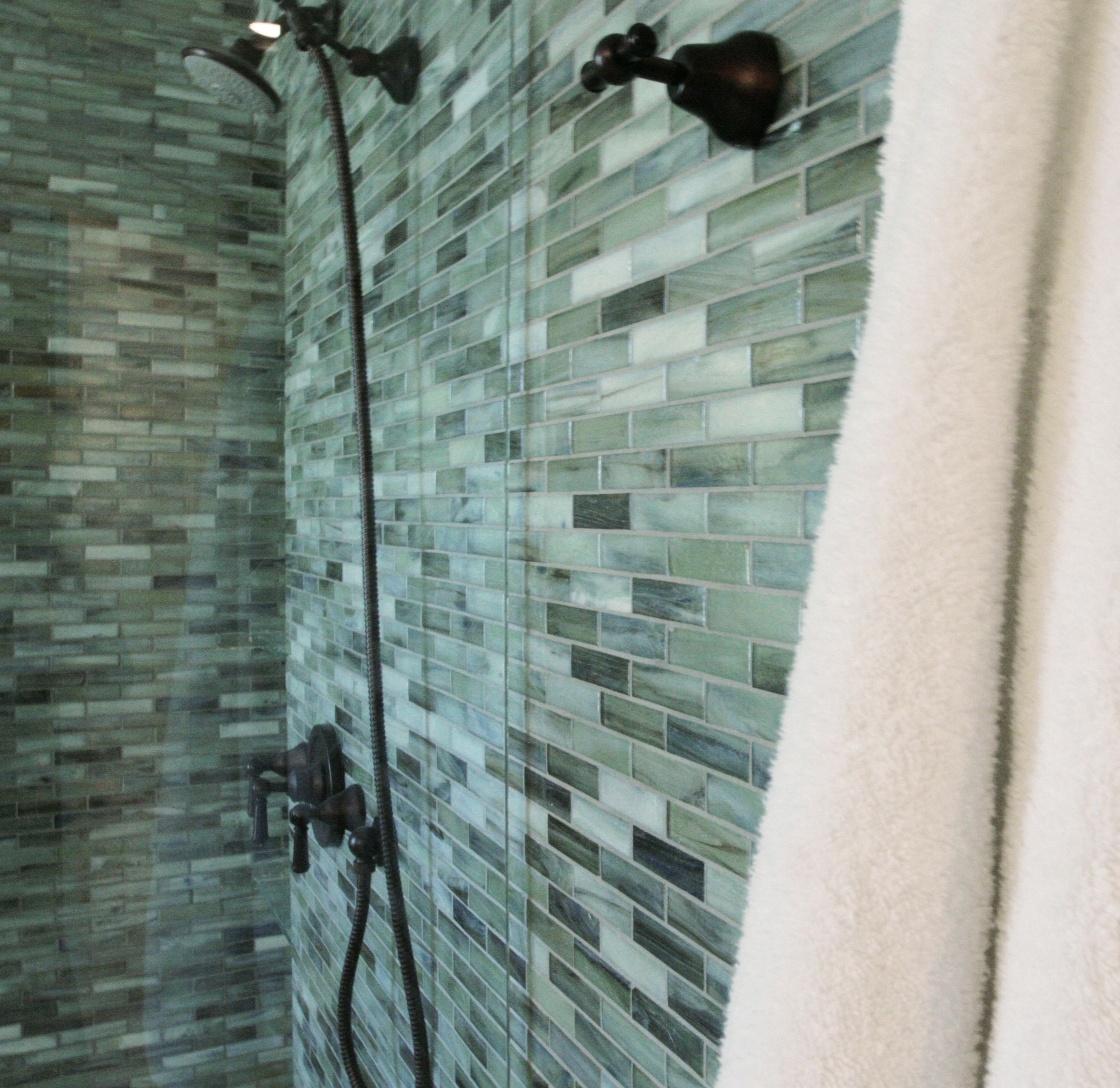 Sonoma Tilemakers \'Vihara\' glass mosaics in a shower, Design by Greg ...