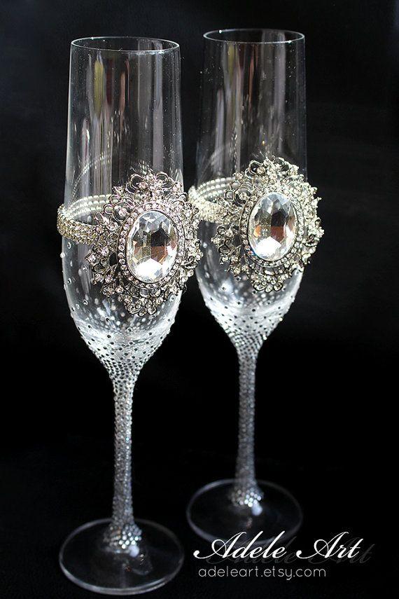 Pesronalized Champagne Wedding Flutes Set Of 2 Wedding Etsy In 2020 Decorated Wine Glasses Wine Glass Decor Wedding Champagne Flutes