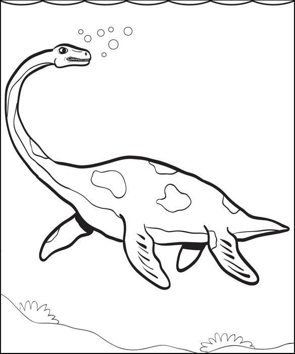 Plesiosaur Dinosaur Coloring Page Embroidery, Summer camp crafts - copy animal dinosaurs coloring pages
