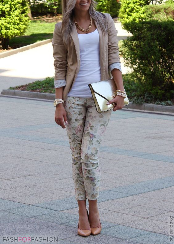 be2ec3e69 SS Trends Mix: Cocoa Blazer, White T, Flower Printed Pants, Gold Envelope  Bag, Nude Heels