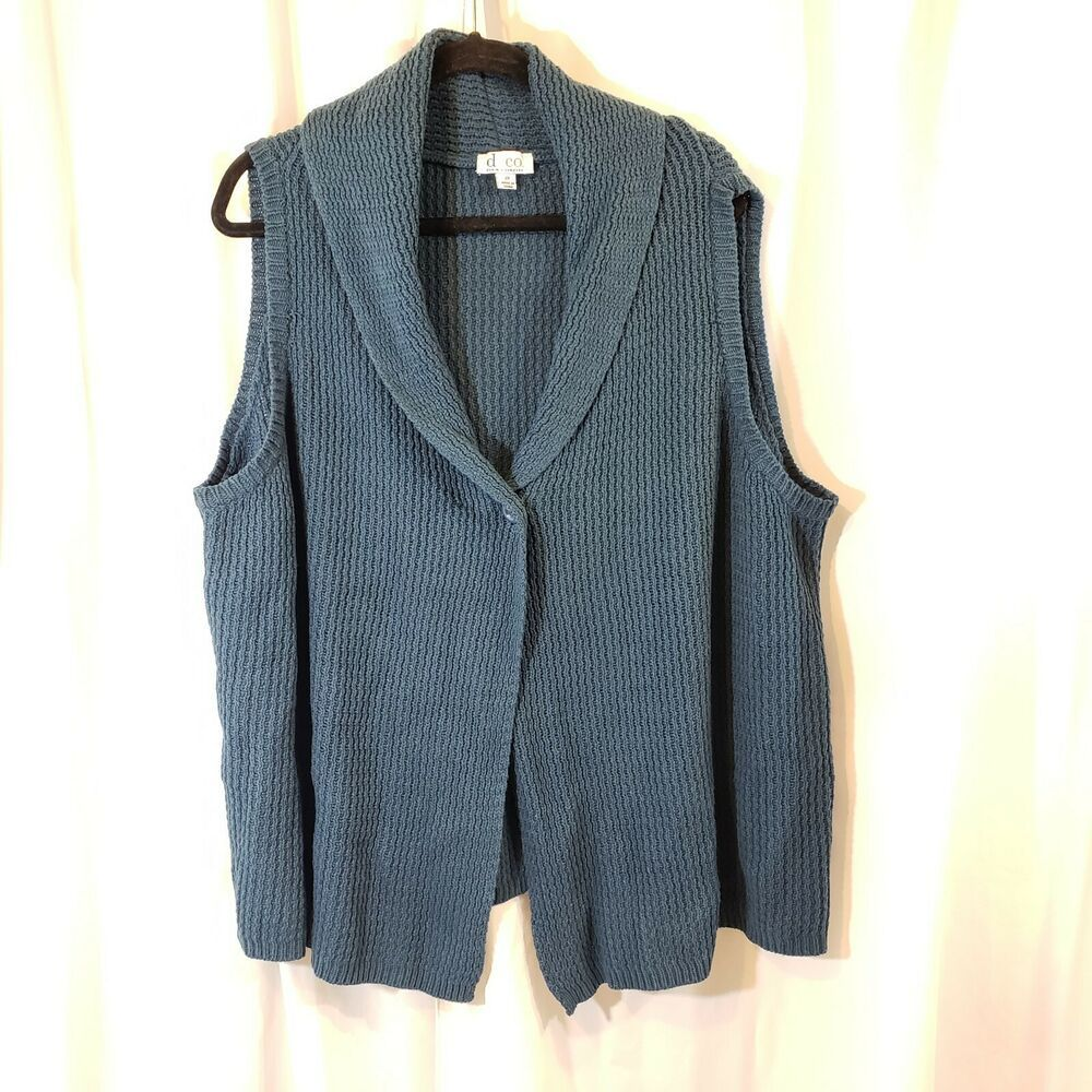 Denim Co plus 3x sleeveless cardi sweater vest shawl collar