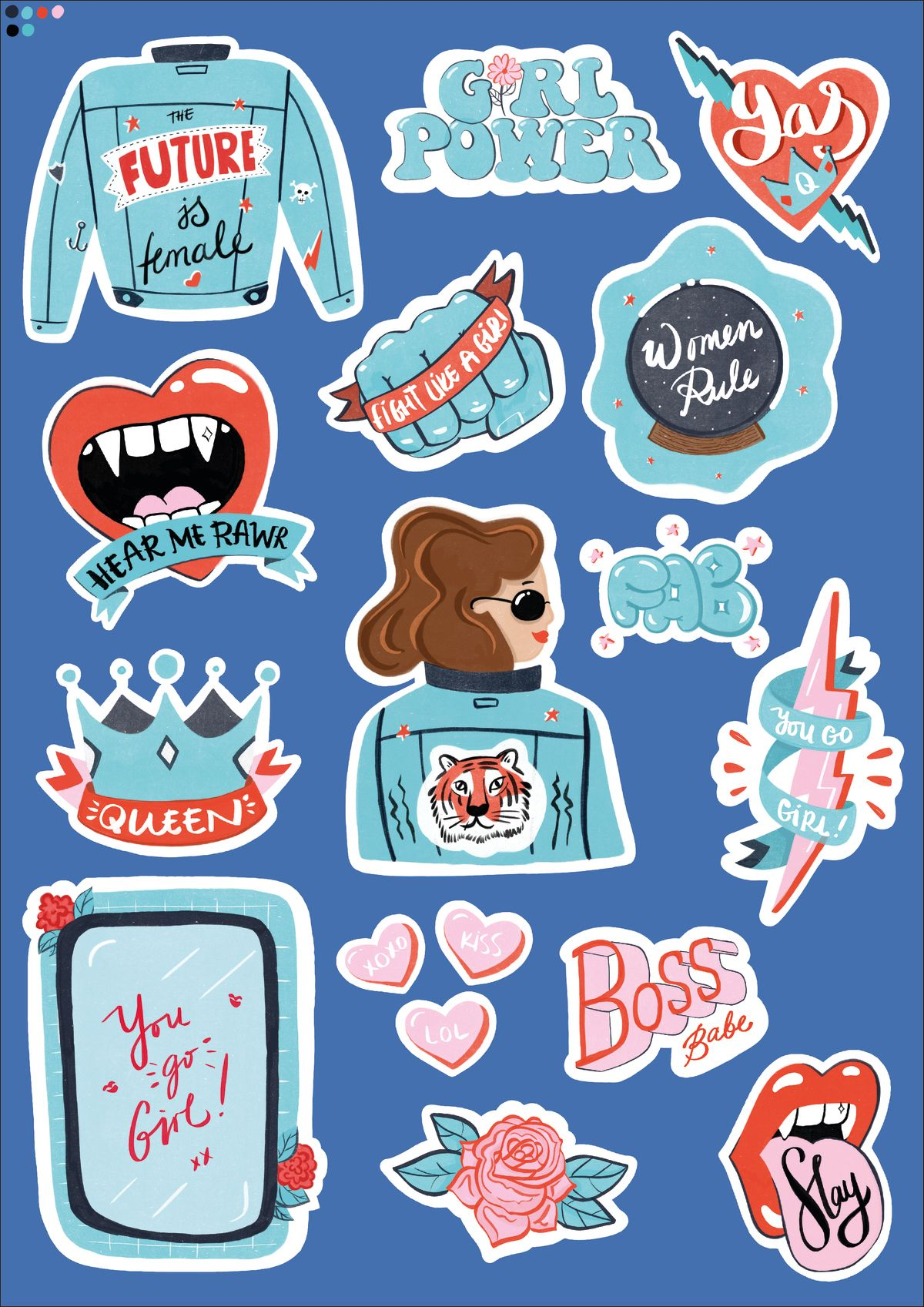 Cool Sticker Set Design For Digital Or Print Made